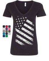 Stars And Stripes Women's V-Neck T-Shirt 4th of July United States Flag ... - $17.21+