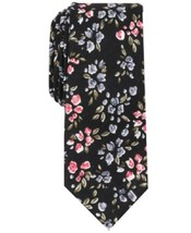 Bar III Men's Cook Floral Pattern Skinny Neck Tie Black - $54.45