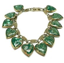 Vintage Green Foiled Warner Heart Charm Bracelet - $98.99