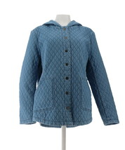 Isaac Mizrahi TRUE DENIM Quilted Snap Hooded Jacket Light Indigo S NEW A... - $51.46