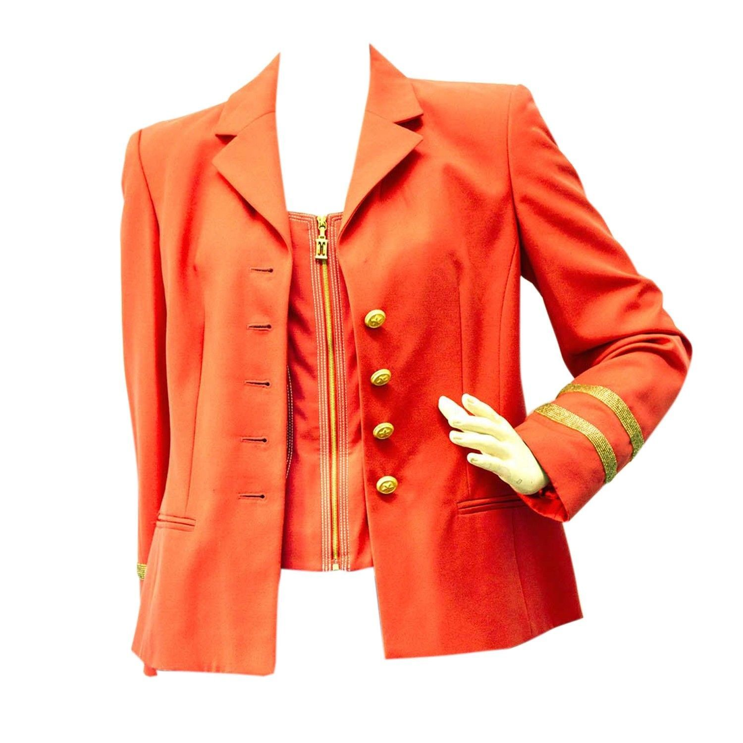 Vintage Escada Blazer and Bustier Set in Bright Orange almost Red - SZ36 / 34 - $226.71