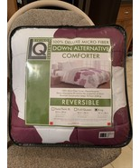 Reversible Microfiber Down Alternative Comforter Evie Purple Gray White ... - $69.99