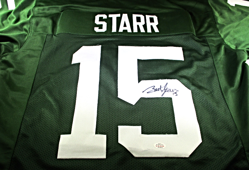 BART STARR / NFL HALL OF FAME / AUTOGRAPHED GREEN BAY PACKERS CUSTOM JERSEY COA