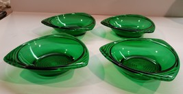 Vintage Set of 4 Anchor Hocking Forest Green Triangular Bon Bon Dishes - $19.99