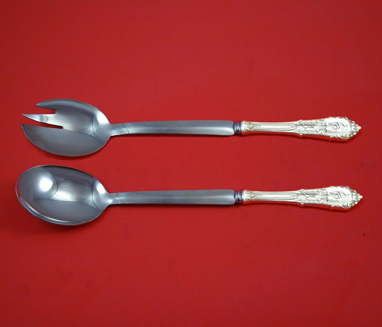 Primary image for Rose Point by Wallace Sterling Silver Salad Serving Set Modern Custom 10 1/2""