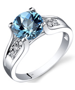 14k White Gold Swiss Blue Topaz and Diamond Cathedral Ring  - $749.99