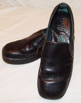 Born Black Leather Slip On Shoes Womens 8 1/2 M W 8.5 Square Toe Classic - $34.62