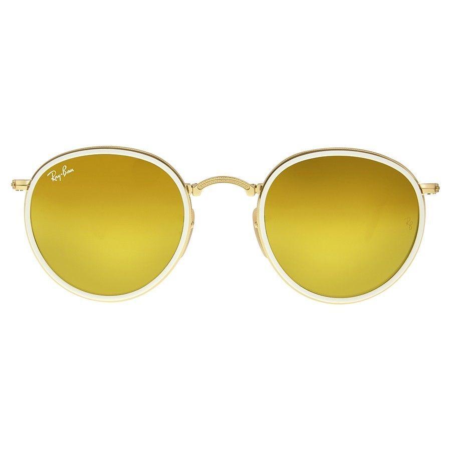 Nuovo Ray-Ban Rotondo Pieghevole RB3517 001/93 Oro/Bianco con / Oro Giallo Flash