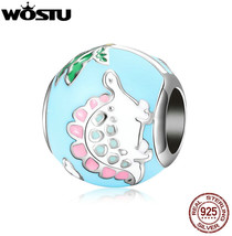 WOSTU HOT SALE 925 Sterling Silver Lovely Pink Dinosaur Beads Fit Origin... - $65.18+