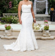 Monique Lhuillier a-line embroidered lace crystal sweetheart bliss weddi... - $600.00