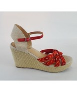 Lucky Brand Mahima wedge sandals espadrilles red strappy 6.5 - $18.69