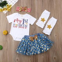 Newborn Infant Baby Girl My First 4th of July Letter Print Romper Jumpsu... - $13.99