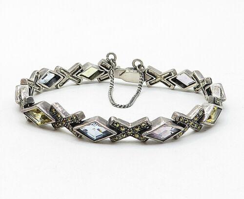 925 Silver - Vintage Amethyst Citrine & Aquamarine Chain Bracelet - B5550