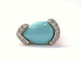 LeVian Turquoise Diamond Jewelry Ring Yellow Gold 14KT .10CT - $1,034.24