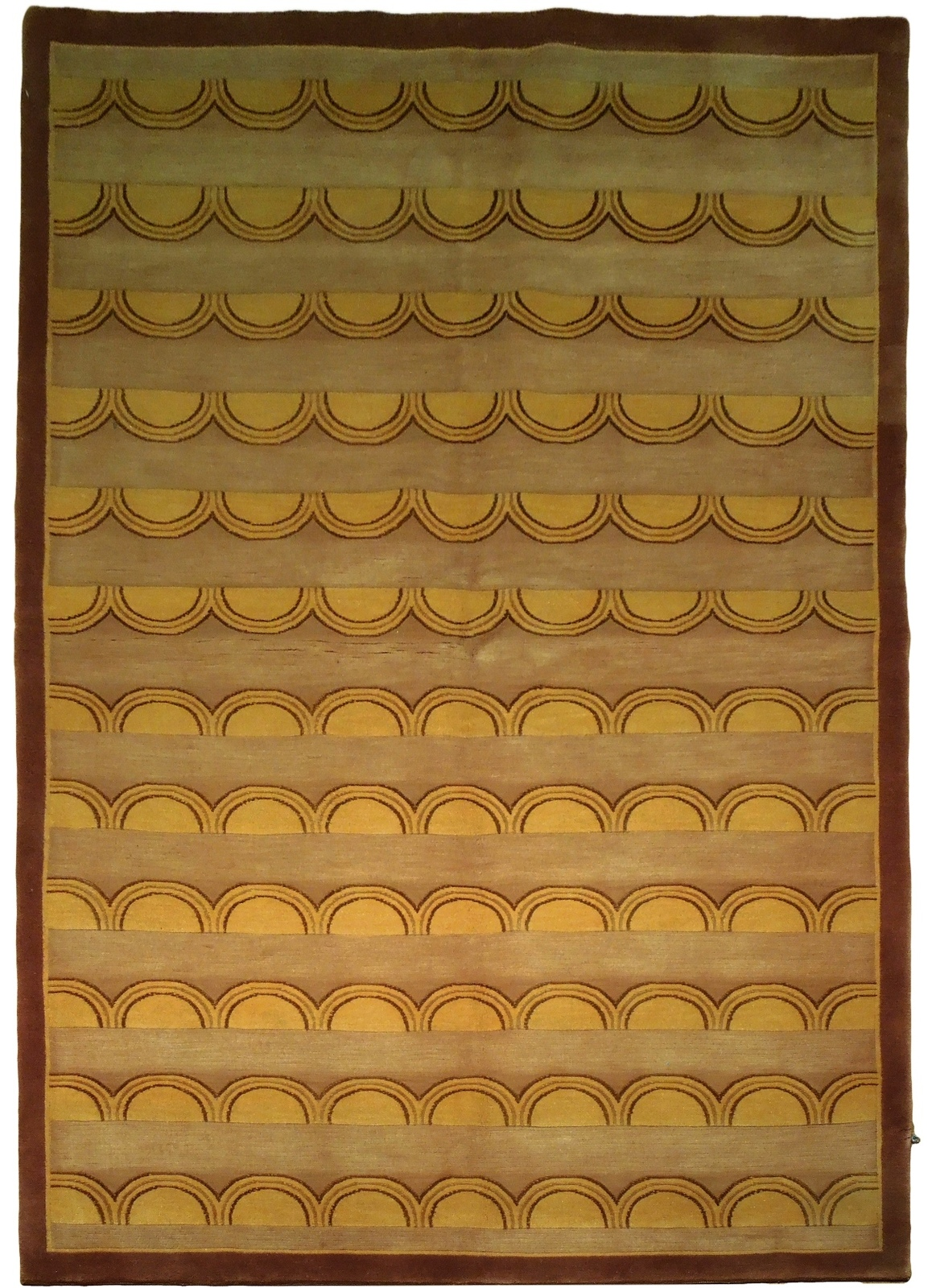 Beige Rug 5 x 8 Wool & Silk Centered Waves Nepalese Hand-Knotted Rug