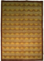 Beige Rug 5 x 8 Wool & Silk Centered Waves Nepalese Hand-Knotted Rug image 1