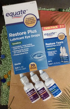 LOT: EQUATE Restore Plus Eye drops 70Vials+5 Bottles: Comfort Gel+Restor... - $25.50