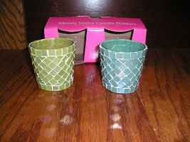 Hallmark Mosaic Votive Candle Holders Set Of 2 In Original Box Green And... - $10.99
