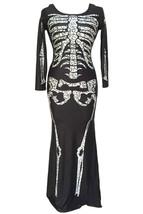 Day of the Dead Costume Womens Skeleton Dress Black White Long Sleeve Maxi - $39.00