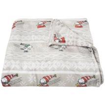 Berkshire Blanket Snoopy Fair Isle VelvetLoft Blanket - Full-Queen, Light Grey - $65.00