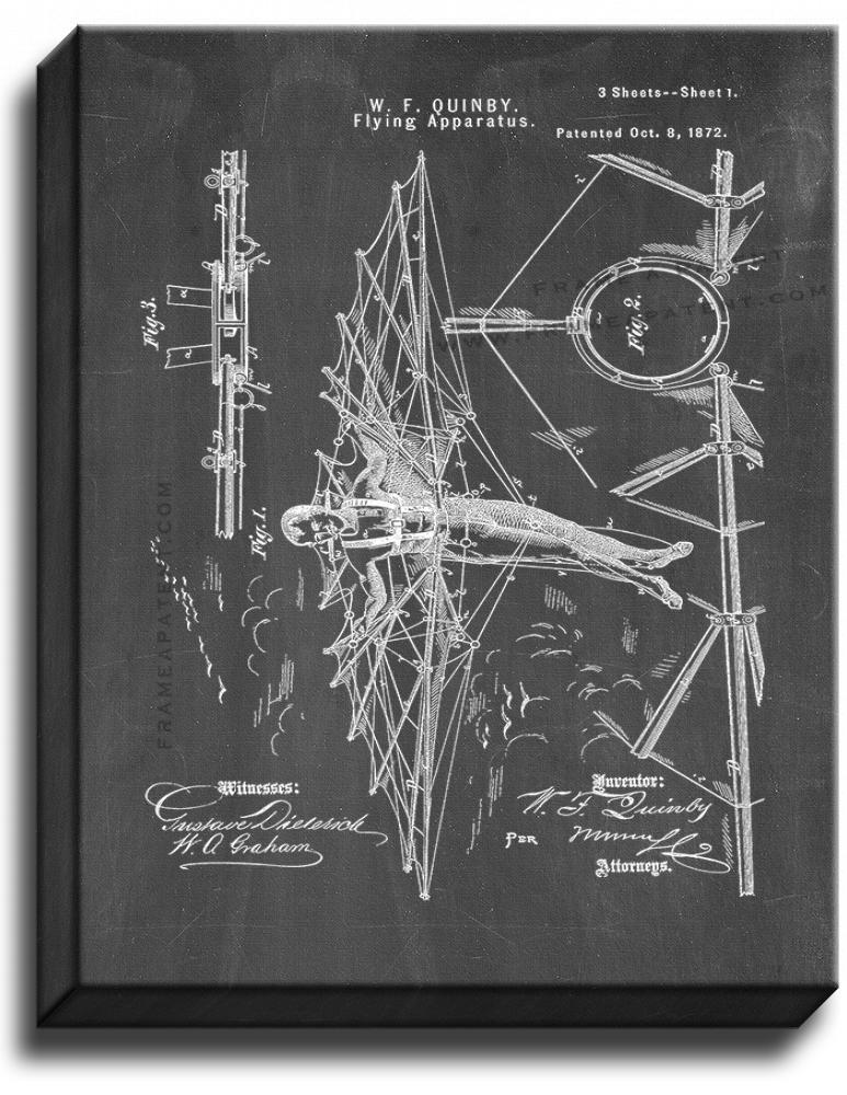 Primary image for Flying Apparatus Patent Print Chalkboard on Canvas