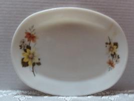 Vintage JAJ Pyrex Oval Serving Tray Platter Milk Glass  Autumn Gold Stea... - $9.50