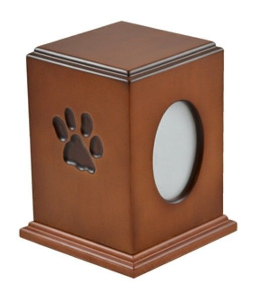Primary image for Paw Print Small Brown Wood 50 Cubic Inches Cremation Urn with Photo Frame
