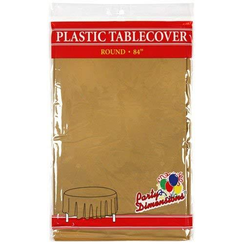 Party Dimensions Single Count Round Plastic Tablecover, 84-Inch, Gold
