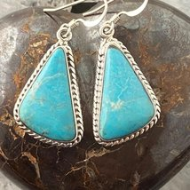 Sterling Silver Triangle Turquoise Dangle Earrings - $115.00