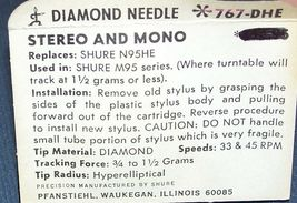 Genuine Shure N95HE NEEDLE STYLUS 767-DHE HYPERELLIPTICAL DIAMOND image 3
