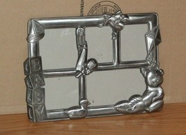 VTG.PEWTER BABY COLLAGE PICTURE FRAME~5 PICTURES~SAILBOAT~BLOCKS~TEDDY~R... - $14.80