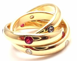 Authentic! Cartier 18k Yellow Gold Ruby Sapphire Diamond Trinity Band Ring - $3,600.00