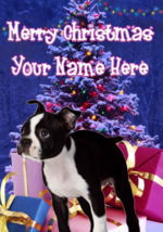 Boston Terrier Puppy Dog Merry Christmas Personalised Greeting Card codeXM165 - $4.42