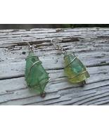 Sun Crystals earrings: Green & blue triangular sea glass, silver wire sp... - $43.00