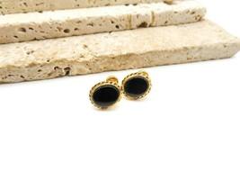 Vintage CRG 12k Gold Filled Black Onyx Screw Back Earrings Z61 - $19.99