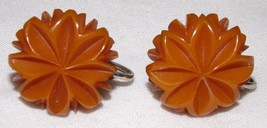Vtg Bakelite Screw on Earrings Jewelry Womens Costume Flowers Starburst - $26.01