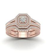 IGI Certified 10k Rose Gold 0.50Ct TDW Diamond Double Halo Bridal Ring w... - £348.49 GBP