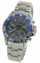 Montres Carlo Metal Band Watch With CZ Crystals Seiko Intrument Inc Japan - $18.61