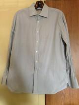 John Varvatos Vertical Stripe Blue & Black Button Down Shirt SZ 15 100% ... - $40.10