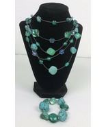Fashion Jewelry Turquoise Colored Stones Art Glass Necklace Bracelet Pre... - $24.74
