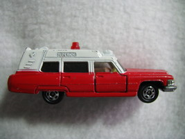 Tomica 1976 Tomy. Cadillac. Japan. Loose. NO.f2. Ambulance.1/77 scale.Red+ White - $19.00