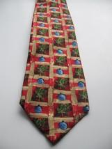 Zegna Ermenegildo Pure Silk Tie Multicolor Red Green Gold Blue Italy Holiday - $72.55