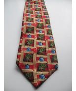 Zegna Ermenegildo Pure Silk Tie Multicolor Red Green Gold Blue Italy Hol... - $72.55