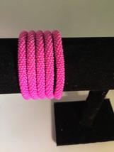 Roll On Glass Beaded Bracelet - Nepal Glass Bead 1 Pc. Pink Original Queen - $3.71