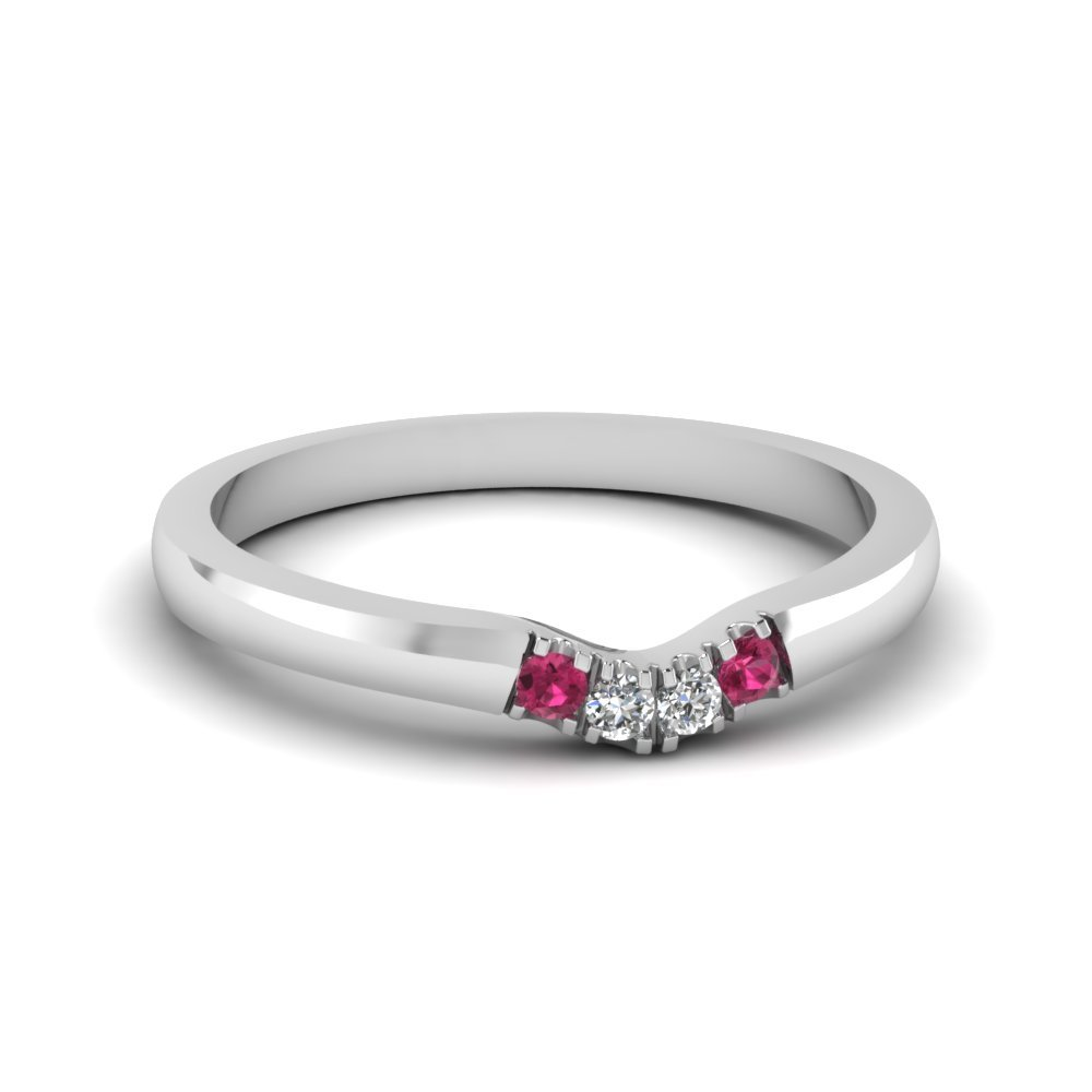 Primary image for Classic Pink Sapphire & CZ Diamond 14K White Gold FN Curved Wedding Band Ring