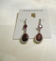 """Charter Club 1-3/4"""" Silver-Tone Red Crystal Drop Earrings F209 $29 - $14.39"""