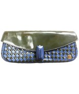 Vintage Bally black and blue enamel intrecciato design leather clutch pu... - $158.00