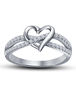 Heart Shape Promise Wedding Ring 14K White Gold Plated 925 Silver Round ... - $55.39