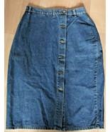 "Baccini  Denim Jean Skirt Size 8/10 Button Front Medium Wash 29"" Waist A... - $16.82"