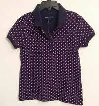 GAP Kids Girl's Polo Shirt Short Sleeve Navy Blue/Pink Polka Dots Size S... - $8.00